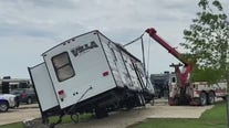 RV flips onto truck following storm in Jarrell