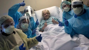 Hospital staff celebrate 98-year-old woman's 'triumphant win' over COVID-19