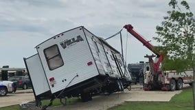 RV flips onto truck following storm in Jarrell