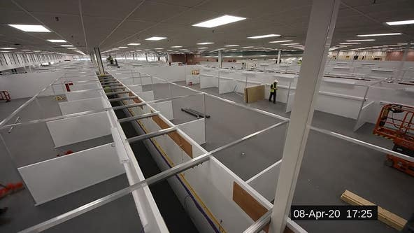 TIMELAPSE: UK constructs temporary hospital to prepare for coronavirus patients