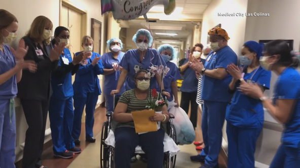 Nurses cheer for North Texas COVID-19 survivor as she leaves the hospital