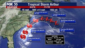 Tropical Storm Arthur inches closer to the US, expected to bring thunderstorms to Central Florida