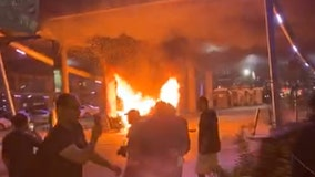 Car, mattress, and dumpster set on fire at George Floyd protest in downtown Austin