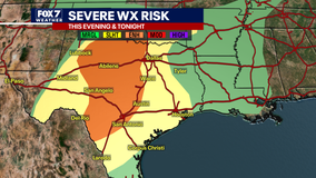 Enhanced risk for severe weather for Central Texas
