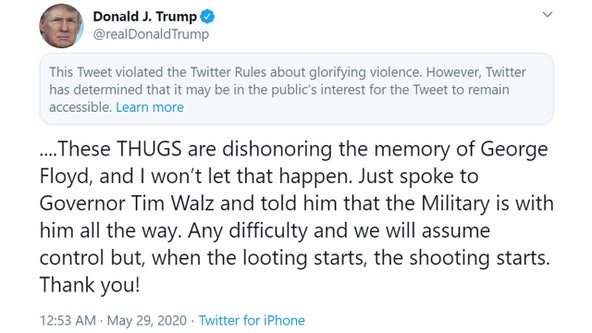 President Trump calls Floyd death 'shocking,' calls protesters 'thugs'; Twitter adds warning to tweet