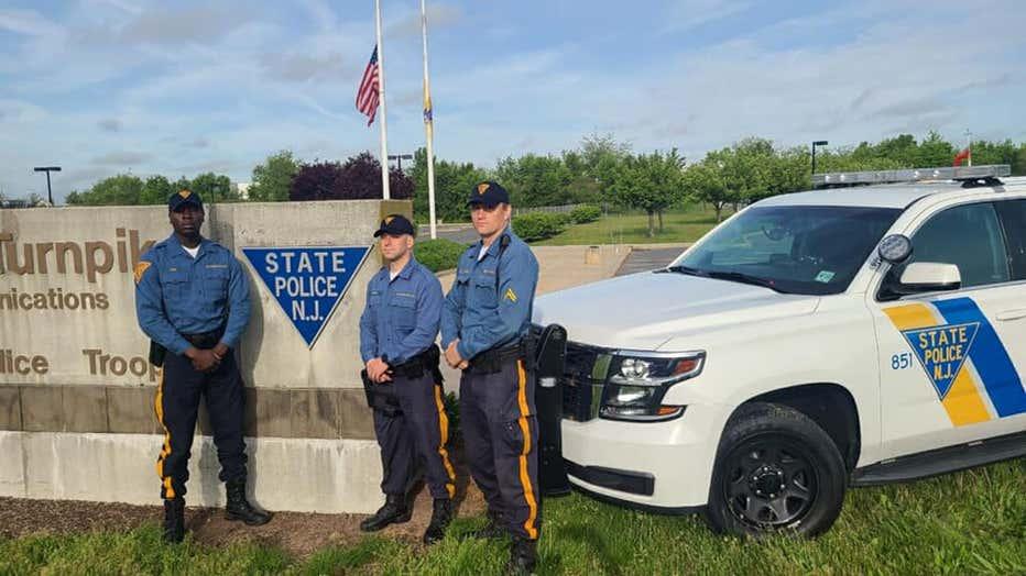 """Troopers Robert Murray, Pierre Noel, and Marcin Ziobron, of Troop """"D"""" Cranbury Station,"""