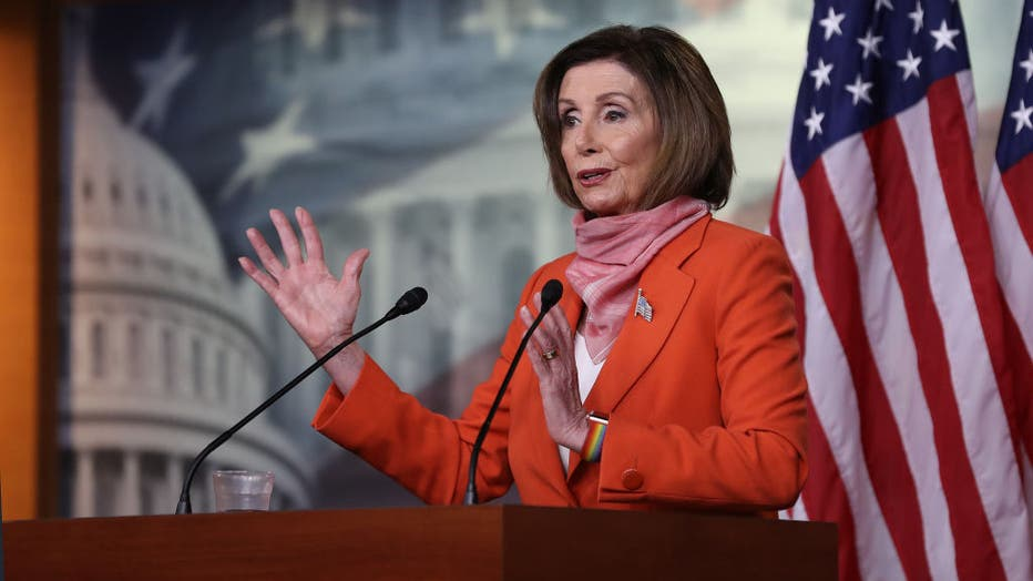 Speaker Pelosi Holds Weekly Press Conference At Capitol Building
