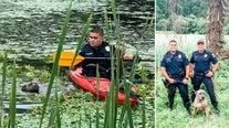 Police officer uses kayak to rescue struggling dog trapped in muddy NJ pond