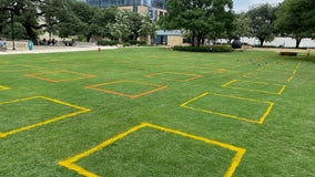 Social distancing squares implemented at downtown Austin park