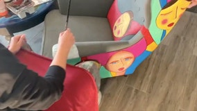 Artist relieves lockdown boredom by painting on her furniture after she runs out of canvases