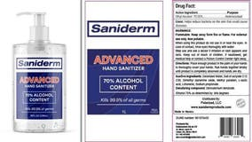 Saniderm Advanced Hand Sanitizer recalled over potential toxic chemicals