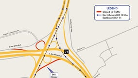 Northbound US 183 exit at SH 71 to close until October