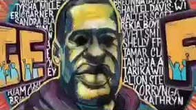 Vandal spray paints George Floyd's eyes black at 38th and Chicago mural