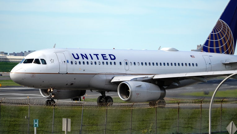 A view of a United Airlines aircraft taxiing at La Guardia