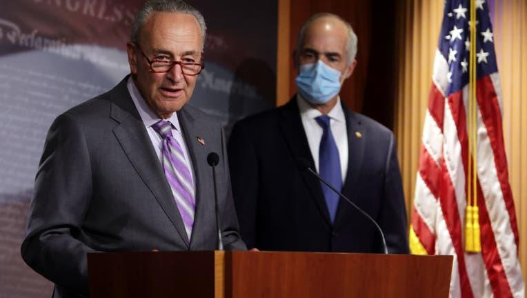 GOP And Democratic Senators Hold Press Conferences At The U.S. Capitol