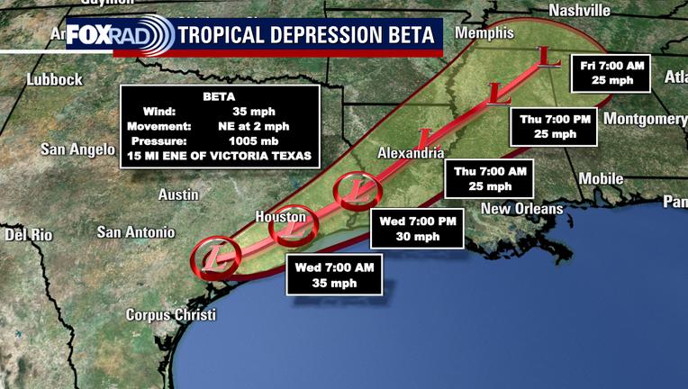 Tropical Depression Beta track