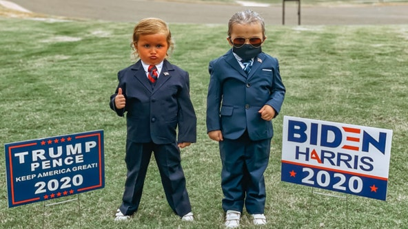 4-year-old twin girls dress up as Trump and Biden ahead of Halloween, 2020 election