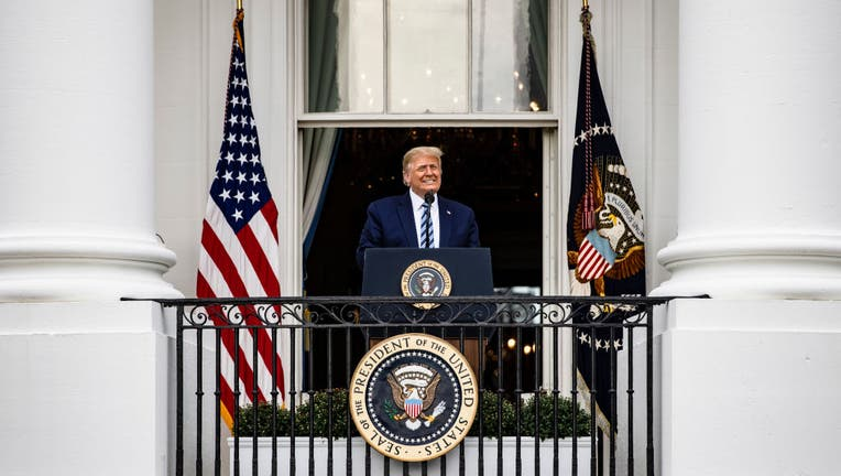 President Trump Delivers Speech To Supporters From White House Balcony