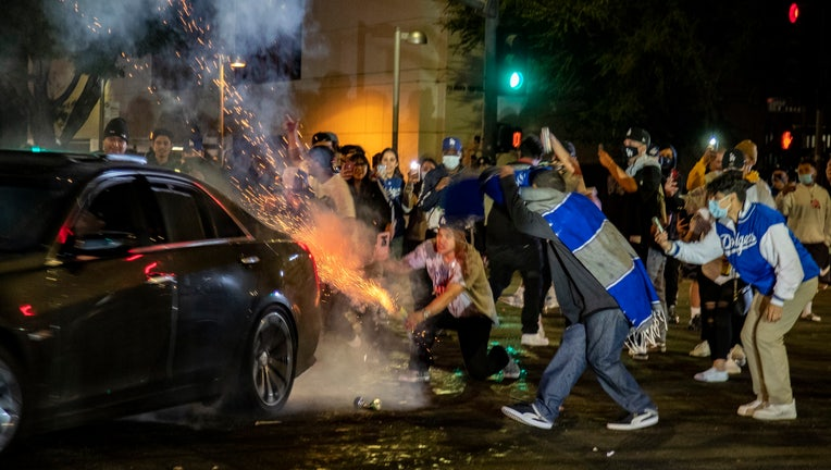 Looting Vandalism Reported In Downtown Los Angeles After Dodgers World Series Win