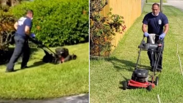 firefighters cut lawn