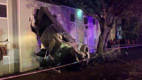 Truck crashes into apartments after traveling at high-rate of speed