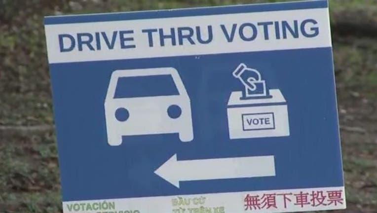 Drive-thru voting Harris County, Texas