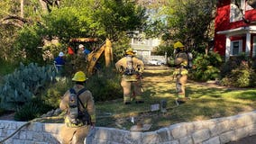AFD, Texas Gas Service working on gas line struck by construction crew