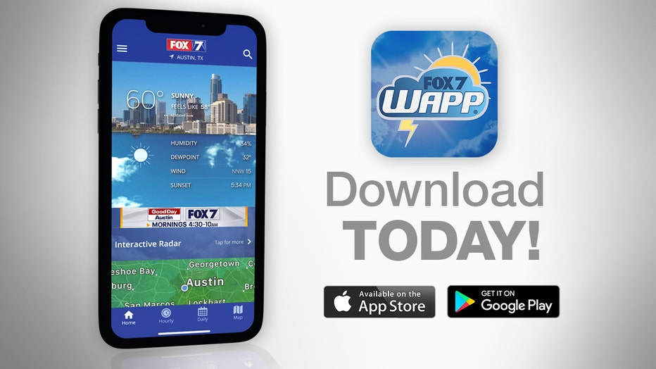 Track your local forecast for the Austin area quickly with the free FOX 7 WAPP. The design gives you radar, hourly, and 7-day weather information just by scrolling. Our weather alerts will warn you early and help you stay safe during storms.