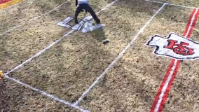 Man excited for Super Bowl 2021 paints miniature version of KC Chiefs' football field in back yard