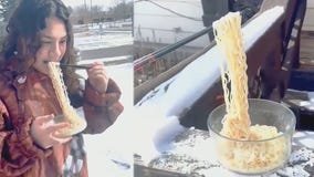 Ramen noodles freeze mid-air in North Dakota's bitter temperatures