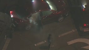 Young passenger exits tear-gassed car after driver leads LASD on chase, crashing into numerous cars