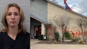 """Woman caught """"red handed"""" after painting graffiti at Dripping Springs City Hall"""