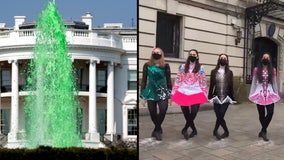 White House fountains dyed green for St. Patrick's Day, dancers line up at Irish embassy