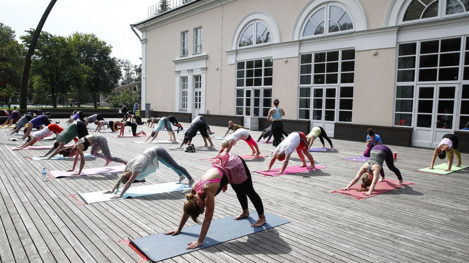 Yoga session at Moscow's VDNKh exhibition centre