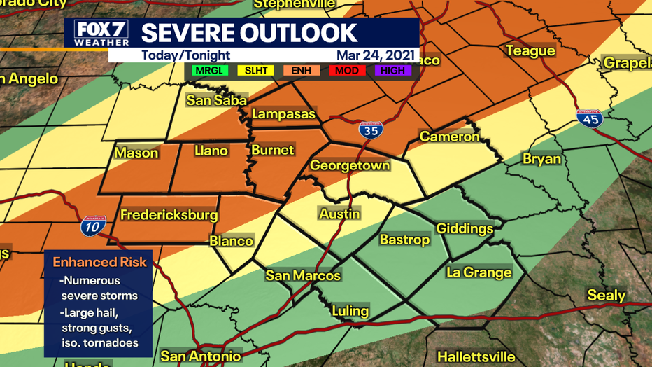 Updated severe outlook shows an Enhanced Risk for severe weather across most of the Hill Country.