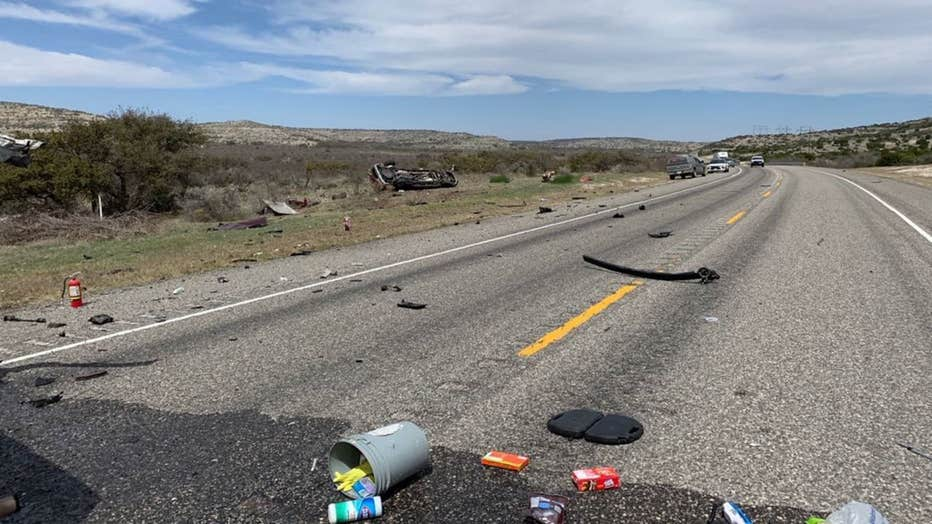 The aftermath of the head-on collision, which left 8 dead.