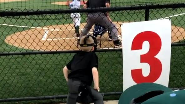 'He's a star': Video captures young boy imitating umpire at local baseball game