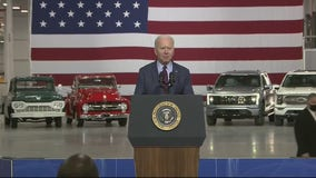 President Biden says future of vehicles is electric during Dearborn visit to see F-150 Lightning