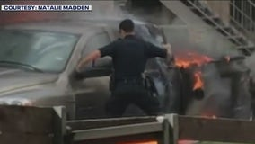 APD officers rescue man from burning truck, help gunshot victim