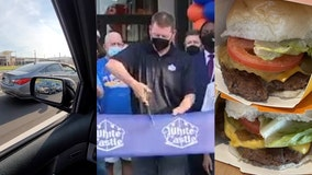 VIDEO: Massive line of cars waits hours for White Castle on opening day
