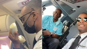 Pilot tearfully announces 'VIP' passenger onboard is his father, on his first flight with him at the controls