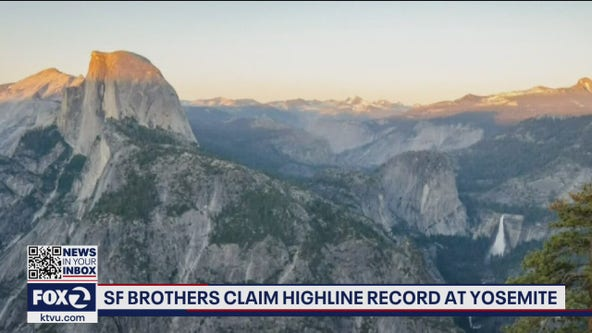 2 San Francisco brothers set record crossing large gap on a highline in Yosemite