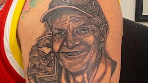 "Houston man gets a tattoo of ""Mattress Mack"" on his upper arm"