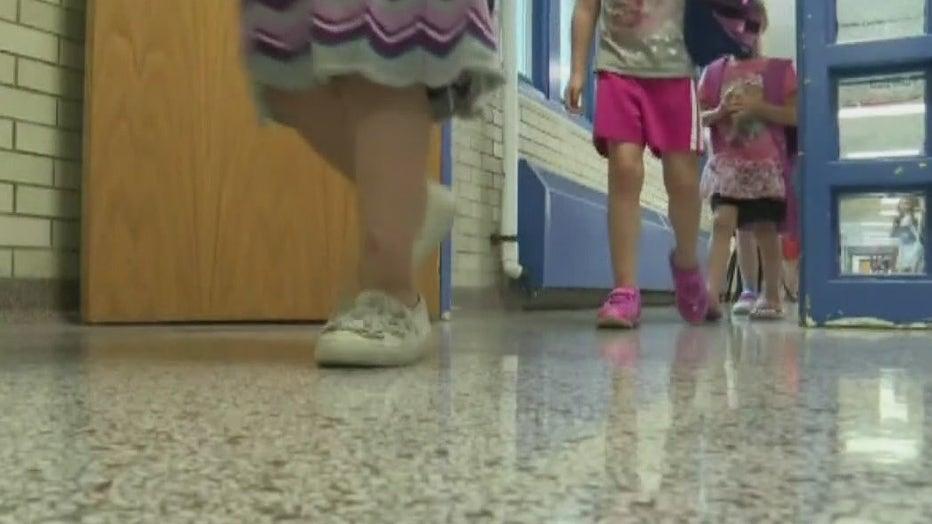 Children walking in school