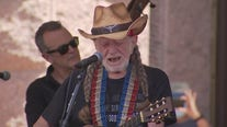 Willie Nelson performs at the conclusion of the Moral March for Democracy