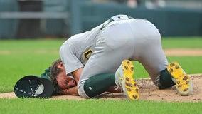 Oakland Athletics right-hander Chris Bassitt struck on head by line drive