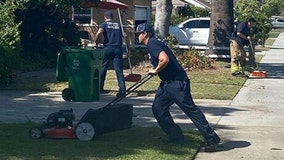 Orange County firefighters finish lawn work for elderly man who collapsed while mowing