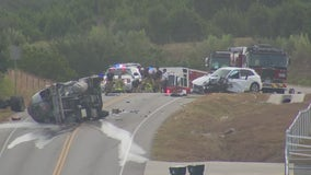 Tanker truck involved in rollover moved after leaking propane