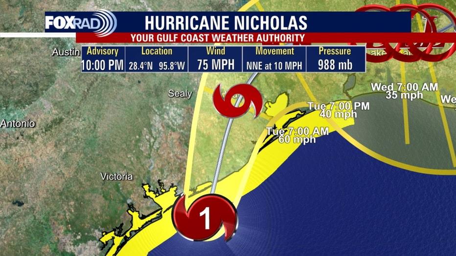 Hurricane Nicholas 10 p.m.