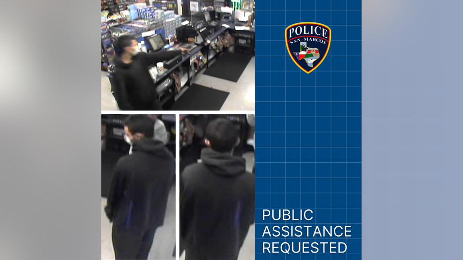 The San Marcos Police Department is asking for the public's assistance in identifying a suspect involved in an aggravated robbery at a gas station earlier this week.